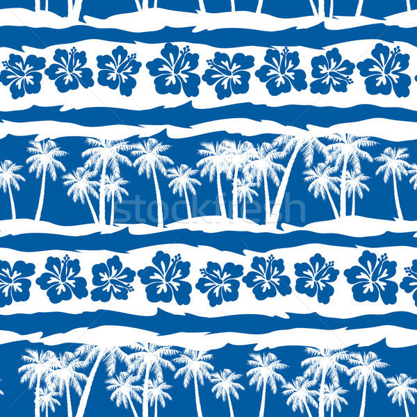 Stock photo: Tropical frangipani with beach palms seamless pattern