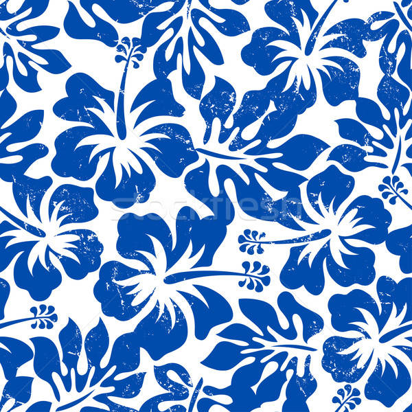 Tropical weathered blue hibiscus seamless pattern Stock photo © adamfaheydesigns