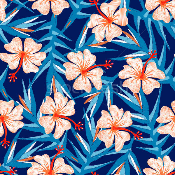 Tropical ginger embroidery floral design seamless pattern Stock photo © adamfaheydesigns