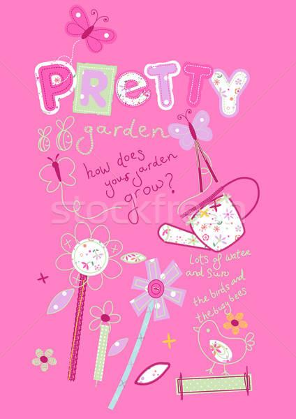 Girls pink pretty garden embroidery illustration Stock photo © adamfaheydesigns