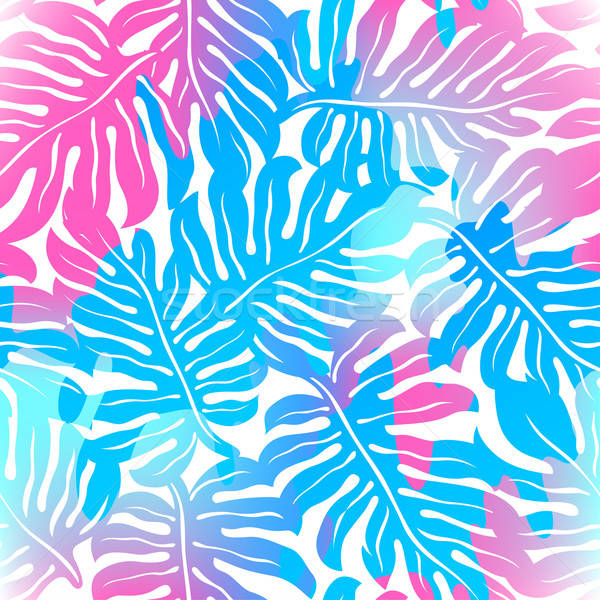 Tropical palms seamless pattern in colours Stock photo © adamfaheydesigns
