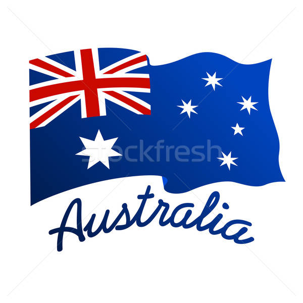 Australian flag in wind with word Australia Stock photo © adamfaheydesigns