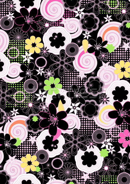 Abstract girls floral on a black background Stock photo © adamfaheydesigns