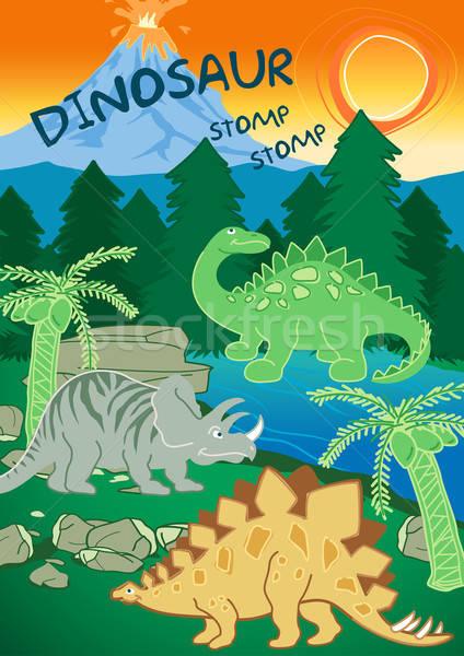 Dinosaurs stomp stomp next to a volcano Stock photo © adamfaheydesigns