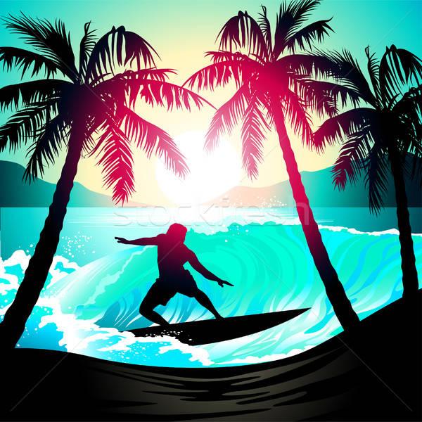 Masculino surfe nascer do sol praia tropical água sol Foto stock © adamfaheydesigns