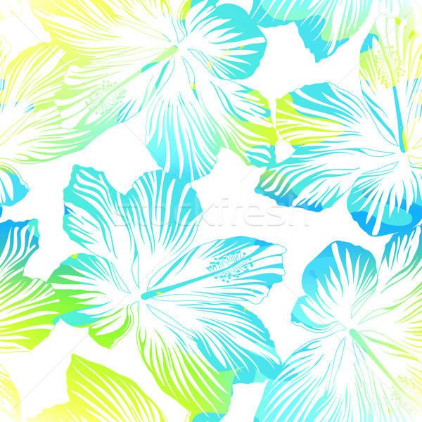 Tropicales flores blanco acuarela efecto Foto stock © adamfaheydesigns