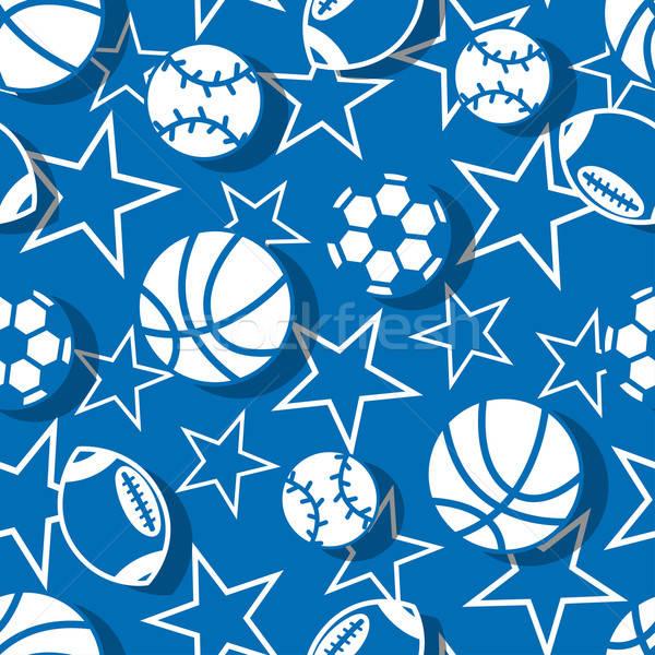 Sportok golyók kék fehér végtelen minta absztrakt Stock fotó © adamfaheydesigns