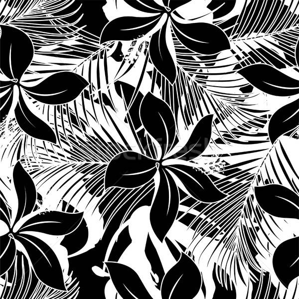 Black and white hibiscus seamless pattern Stock photo © adamfaheydesigns