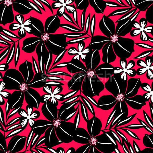 Preto flor tropical vermelho Foto stock © adamfaheydesigns