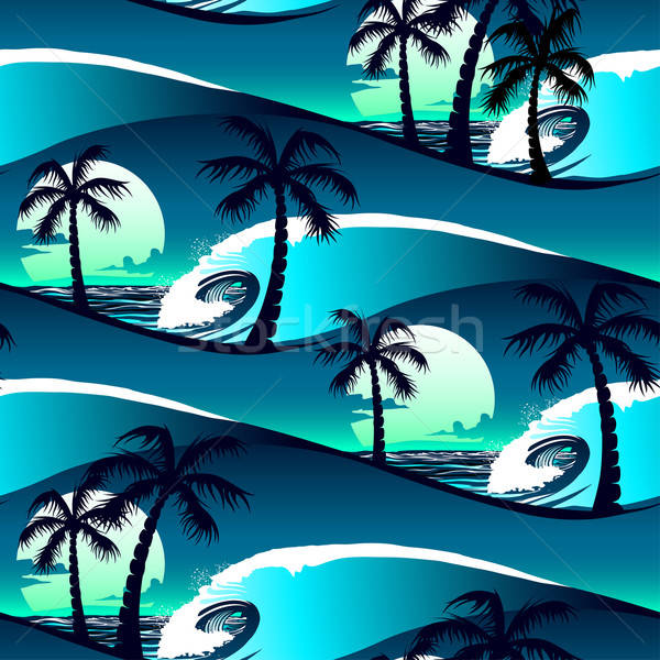 Tropical hibiscus and palm trees at sunset seamless pattern Stock photo © adamfaheydesigns