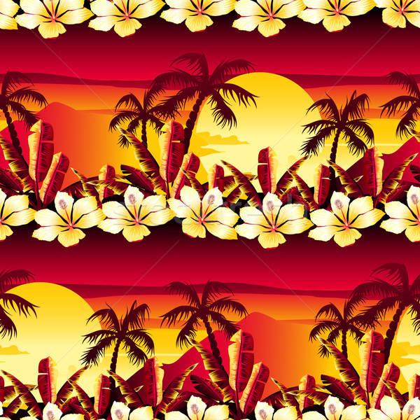 Tropical golden sunset with hibiscus flowers seamless pattern Stock photo © adamfaheydesigns