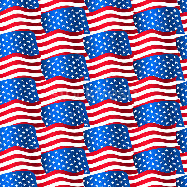 USA flags waving in a seamless pattern Stock photo © adamfaheydesigns