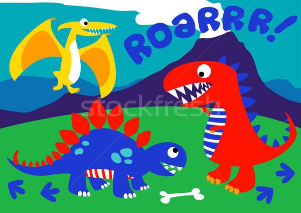 Aranyos dinoszauruszok áll domb tájkép hegyek Stock fotó © adamfaheydesigns