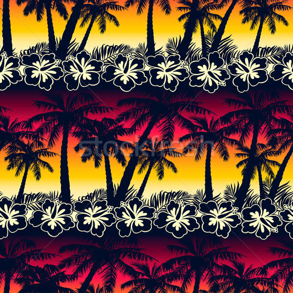 Tropical palm tree at sunset with hibiscus flowers seamless patt Stock photo © adamfaheydesigns