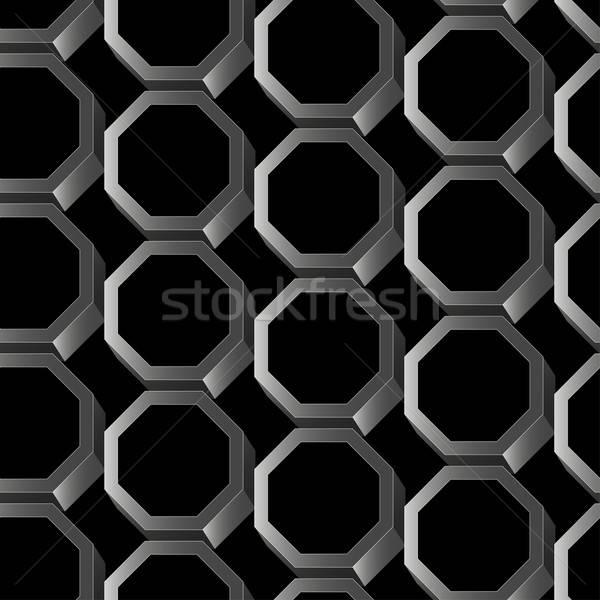 Abstract zilver 3D zeshoek metaal Stockfoto © adamfaheydesigns