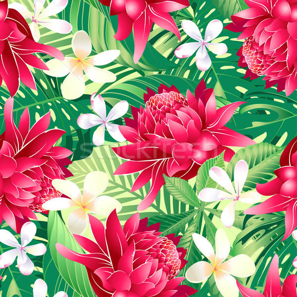 Tropical hibiscus floral 7 seamless pattern Stock photo © adamfaheydesigns