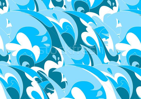 аннотация синий волна повторять шаблон морем Сток-фото © adamfaheydesigns