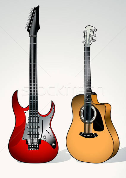 String and electric guitar next to each other Stock photo © adamfaheydesigns