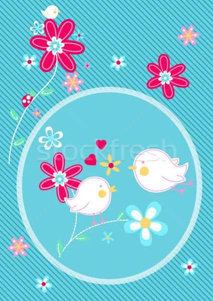 Little birds on flower floral embroidery Stock photo © adamfaheydesigns