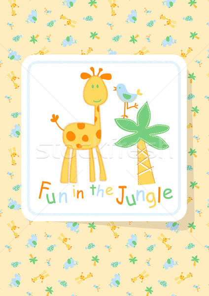 Fun in the Jungle with giraffe and bird embroidery Stock photo © adamfaheydesigns