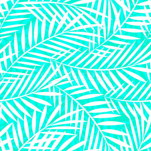 Tropical white and green palm tree leaves seamless pattern Stock photo © adamfaheydesigns