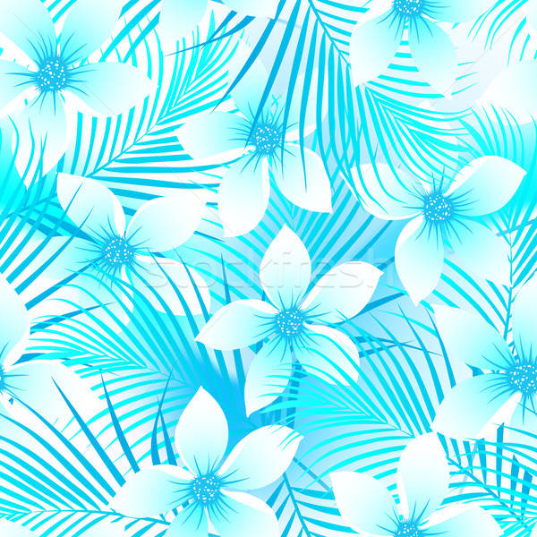 Tropical frangipani hibiscus with palms seamless pattern Stock photo © adamfaheydesigns