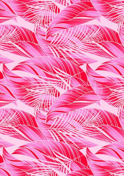красный розовый тропические листьев повторять шаблон Сток-фото © adamfaheydesigns