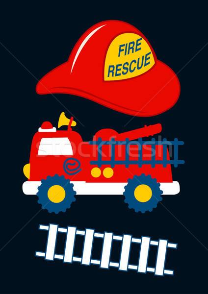 Tűz mentés piros sisak teherautó gyerekek Stock fotó © adamfaheydesigns