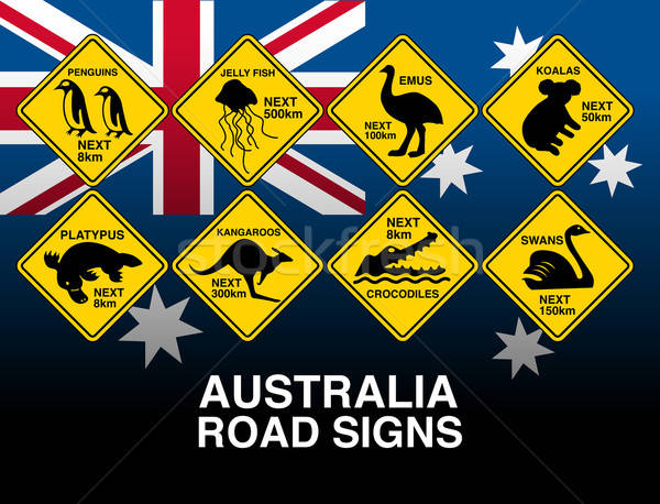 Australian yellow road warning signs with flag Stock photo © adamfaheydesigns