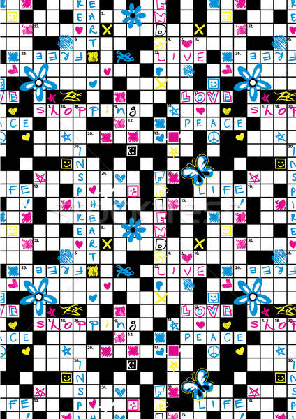 Crossword puzzle repeat pattern with flowers and symbols Stock photo © adamfaheydesigns