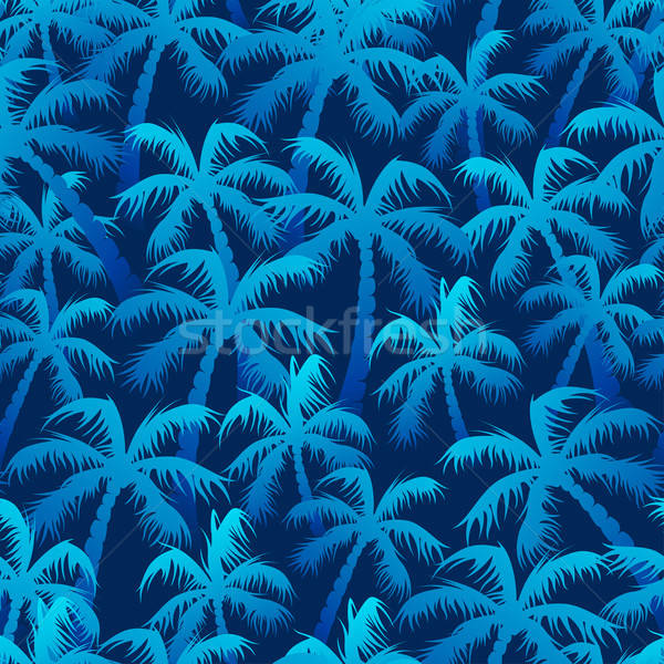 Tropical blue palm forest in a seamless pattern Stock photo © adamfaheydesigns