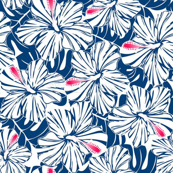 Kék trópusi hibiszkusz pálma végtelen minta Stock fotó © adamfaheydesigns