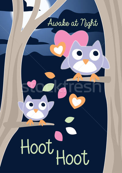 Sveglio notte albero moda cuore panorama Foto d'archivio © adamfaheydesigns