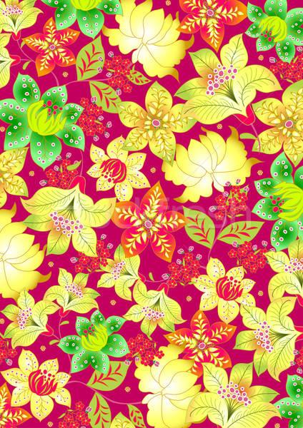 Bali virágmintás hímzés terv zöld sziget Stock fotó © adamfaheydesigns