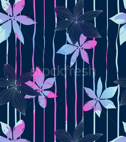 Kék virág kék trópusi virágok csíkok divat Stock fotó © adamfaheydesigns