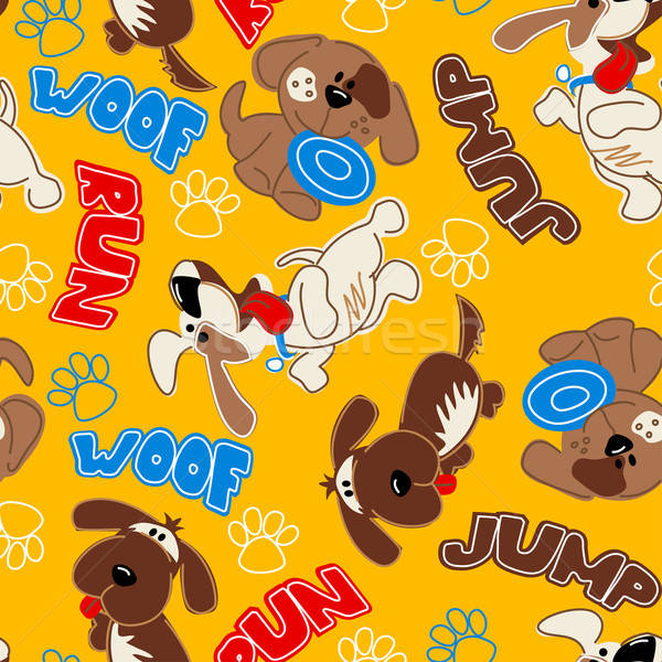 Cute puppy dogs in a seamless pattern Stock photo © adamfaheydesigns