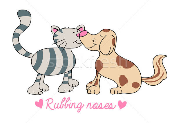 Cat and dog rubbing noses illustration Stock photo © adamfaheydesigns
