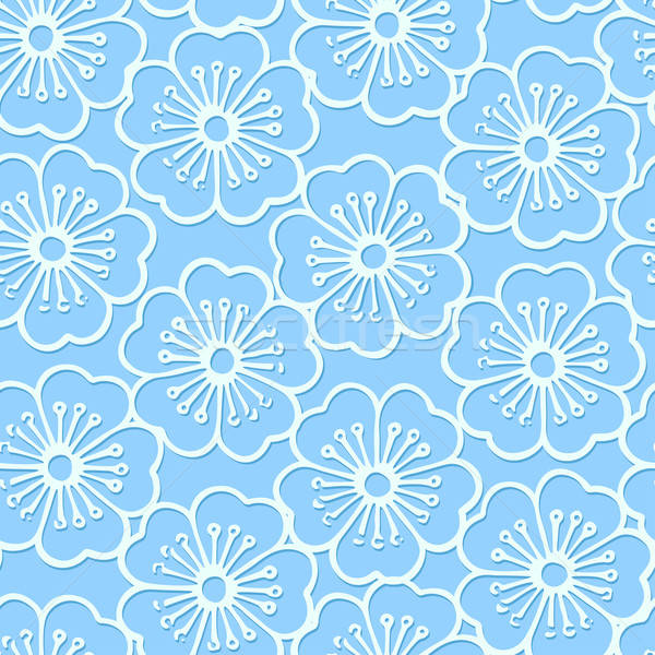 White stencil print hibiscus floral seamless pattern Stock photo © adamfaheydesigns