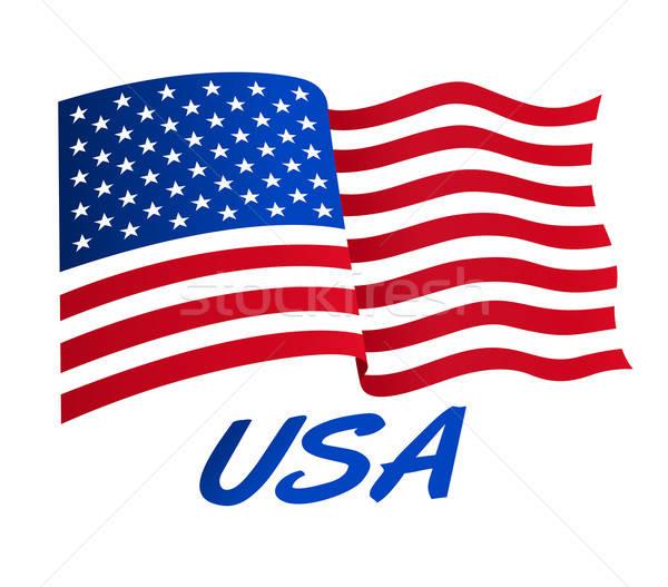 Bandeira americana vento EUA estrelas azul bandeira Foto stock © adamfaheydesigns