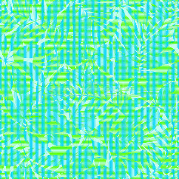 Stock photo: Green and blue striped tropical leaves seamless pattern