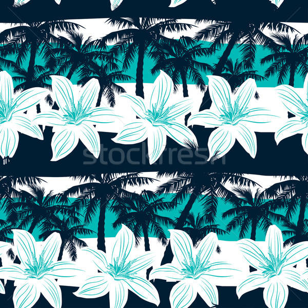 Tropical palms flor árvore Foto stock © adamfaheydesigns