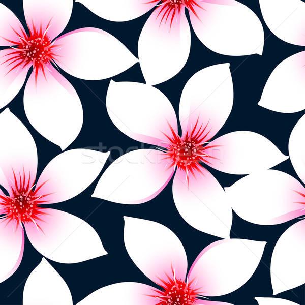 Fehér trópusi hibiszkusz virágok végtelen minta tengerpart Stock fotó © adamfaheydesigns