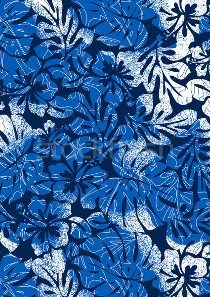 Blue tropical ferns and hibiscus with a distressed texture Stock photo © adamfaheydesigns