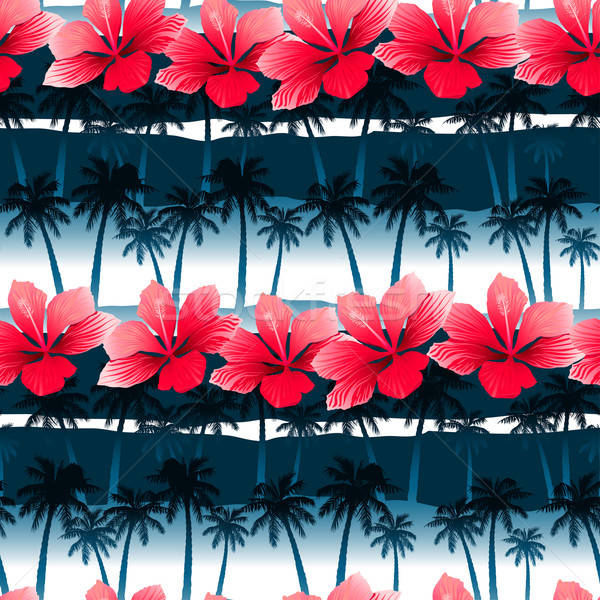 Tropical hibiscus flowers in a seamless pattern with blue palm t Stock photo © adamfaheydesigns