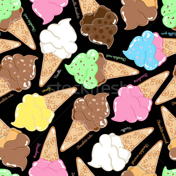 Flavoured ice creams in a seamless pattern Stock photo © adamfaheydesigns