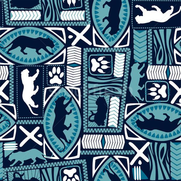 Tribal tiger repeat seamless pattern Stock photo © adamfaheydesigns