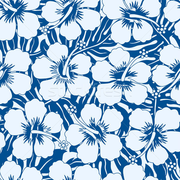 Graphic navy and white tropical flowers seamless pattern Stock photo © adamfaheydesigns