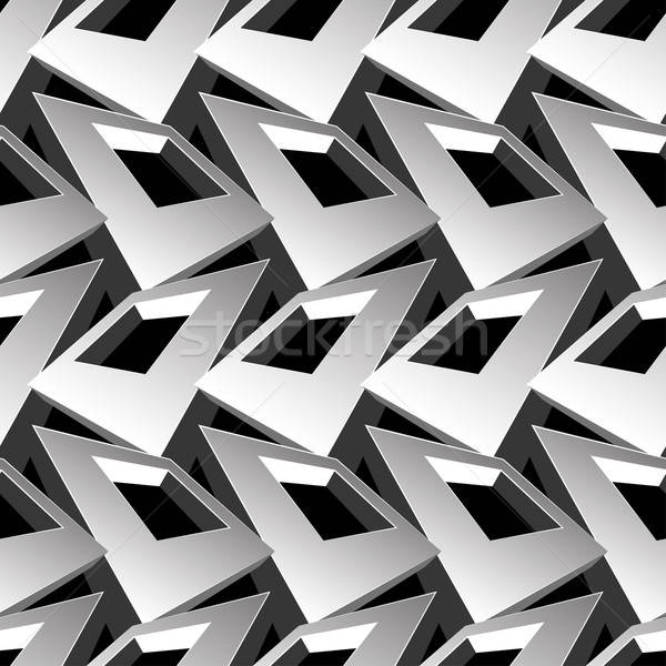 Black and white 3D square abstract seamless pattern Stock photo © adamfaheydesigns