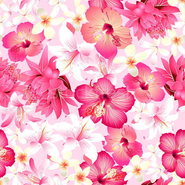 Tropical flowers with pink background seamless pattern Stock photo © adamfaheydesigns