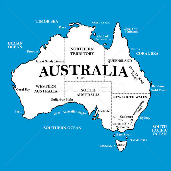 Map of Australia with locations on a blue background Stock photo © adamfaheydesigns
